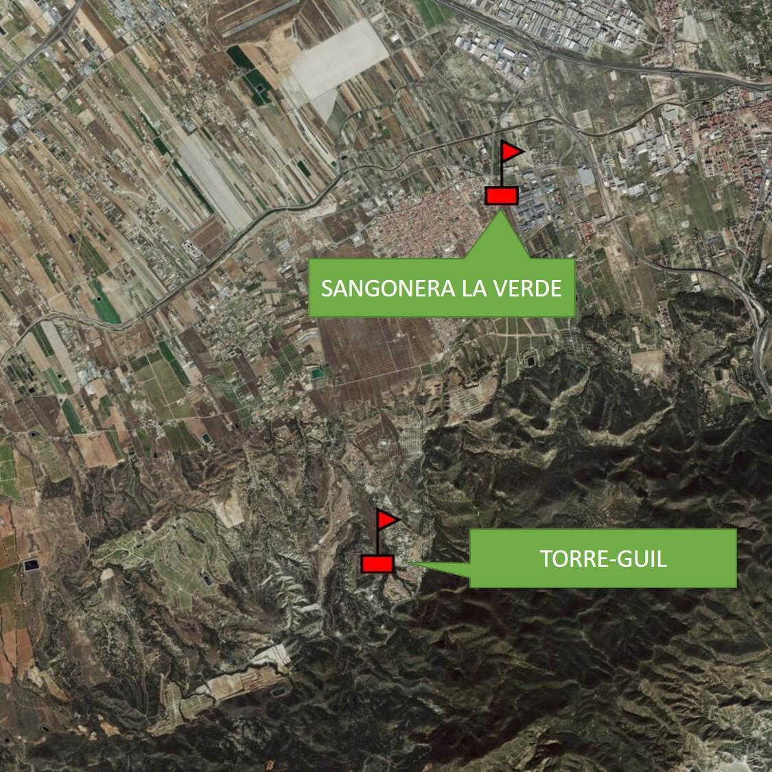 Mapa estaciones meteorológicas en Sangonera